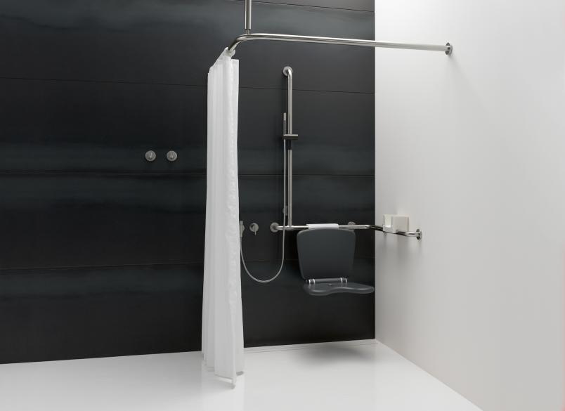 hewi duschhandlauf mit verschiebbarer brausehalterstange. Black Bedroom Furniture Sets. Home Design Ideas