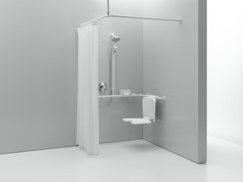 hewi vorhangstange mit deckenabh ngung und duschvorhang. Black Bedroom Furniture Sets. Home Design Ideas